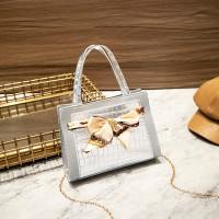 Ribbon Patched Animal Pattern Chain Strap Messenger Bags - Silver