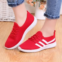 Contrast Lining Rubber Sole Lace Closure Sneakers - Red