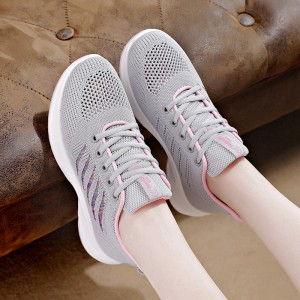 Lace Closure Sports Wear Mesh Sneakers - Gray