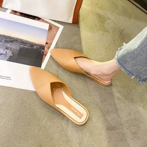 Pointed Open Style Women Fashion Slippers - Khaki