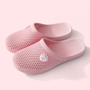 Hollow Breathable Flat Wear Plastic Slippers - Pink