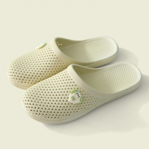 Hollow Breathable Flat Wear Plastic Slippers - Cream White