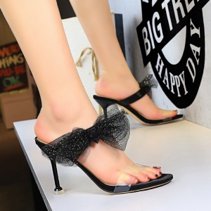 Bow Patched Goblet Heel Party Wear Heels - Black