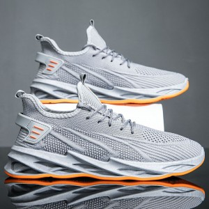 Canvas Lace Closure Slip Over Men Sneakers - Gray