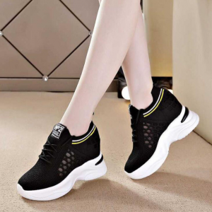 Hollow Open Style Lace Closure Women Fashion Sneakers - Black