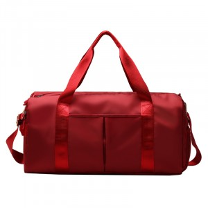Wide Space Traveller Nylon Canvas Zipper Travel Bags - Red