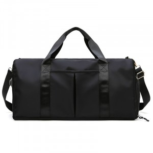 Wide Space Traveller Nylon Canvas Zipper Travel Bags - Black