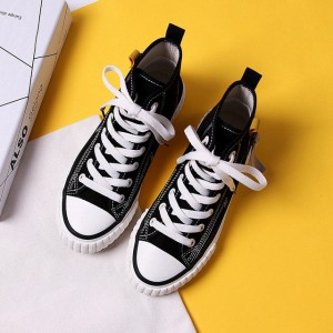 Ribbed Sole Style Plastic Lace Closure Women Sports Wear Sneakers - Black
