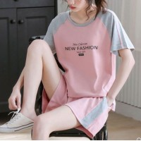 Loose Wear Two Pieces Contrast Sports Shorts With Top - Pink