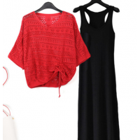 Hollow Outwear Thin Top With Sleeveless Inner Midi Dress - Red