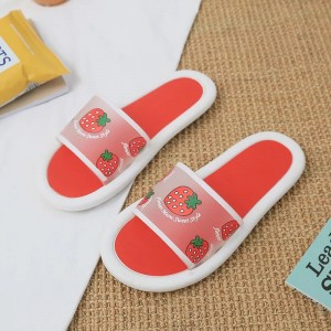Printed Strawberry Rubber Sole Flat Summer Slippers - Red