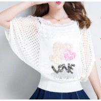 Flared Sleeve Cute Party Wear Blouse Top - White