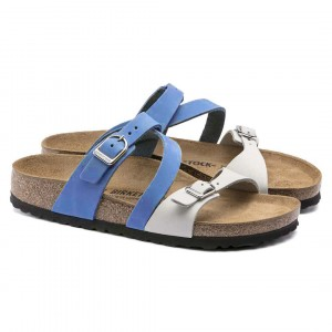 Buckle Style Synethetic Leather Casual Slippers - Blue