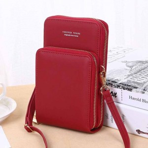 Zipper Closure Synthetic Leather Travel Bags - Red