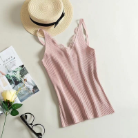 Lace Patched Ribbed Strap Shoulder Tops - Pink