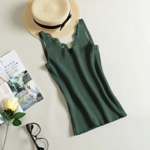Lace Patched Ribbed Strap Shoulder Tops - Green