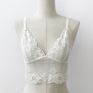 Floral Pull Over Hollow Women Fashion Bridal Bra - White