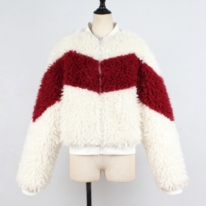 Zipper Closure Contrast Full Sleeves Outwear Jacket - White Red