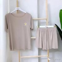 Ribbed Two Piece Casual Wear Women Fashion Top With Shorts Set - Khaki