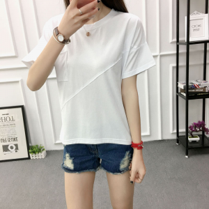 Lining Round Neck Flare Sleeves Solid Color Blouse Top - White