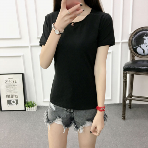 Solid Color Round Neck Short Sleeves T-Shirt - Black