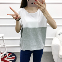 Contrast Two Shade Patched Loose Wear Top - Gray