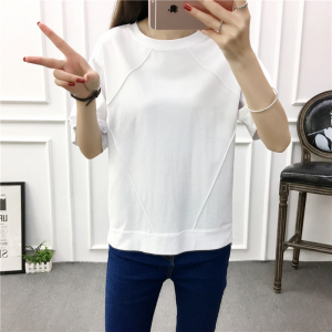 Round Neck Lining Loose Wear Straight Casual T-Shirt - White