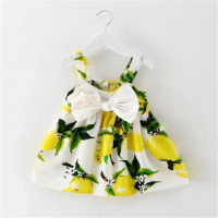 Bow Patched Floral Printed Cute Girls Dress - Yellow