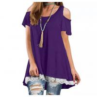 Cold Shoulder Lace Patched Summer Wear Top - Purple