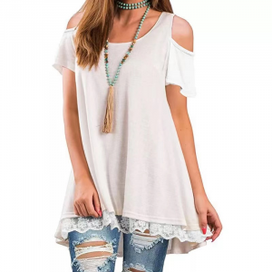 Cold Shoulder Lace Patched Summer Wear Top - White