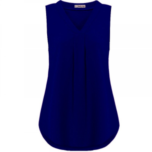 Pleated V Neck Sleeveless Solid Color Blouse Top - Dark Blue