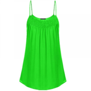 Spaghetti Strap Solid Color Summer Blouse Top - Green