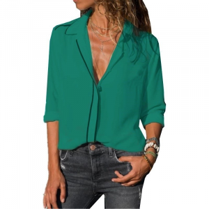 Vintage Style Solid Color Summer Blouse Top - Green