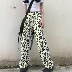 Animal Printed Straight Style Casual Trouser - Cream White
