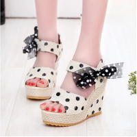 Polka Dots Printed Thick Bottom Knotted Party Wear Sandals - Beige