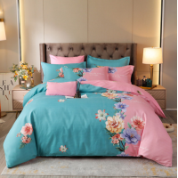 Printed Complete Bed Set Contrast High Quality Bed Sheets Set - 1.5m