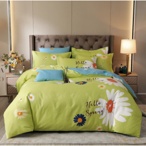 Floral Bed Set Printed Contrast High Quality Bed Sheets Set - 1.5m