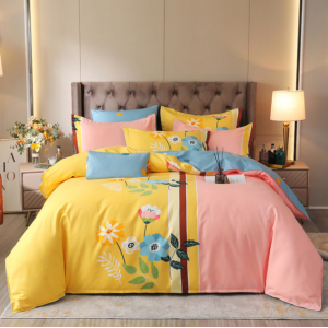 Bed Set Printed Contrast Floral High Quality Bed Sheets Set - 1.5m