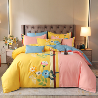 Bed Set Printed Contrast Floral High Quality Bed Sheets Set -2.0 m