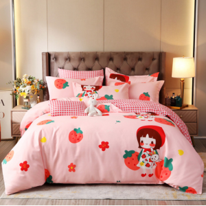 Bed Set Strawberry Printed Contrast High Quality Bed Sheets Set - 1.5m