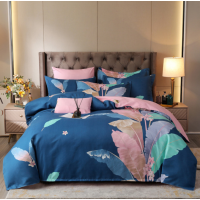 Bed Set Leaves Printed Contrast High Quality Bed Sheets Set - 1.5m