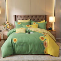 Bed Set Sunflower Printed Contrast High Quality Bed Sheets Set - 1.5m