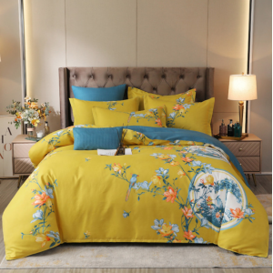 Floral Printed Contrast High Quality Bed Sheets Set - 1.5m