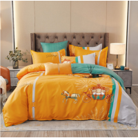 Graphic Printed Contrast High Quality Bed Sheets Set - 2m