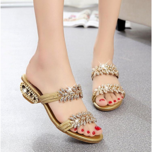 Crystal Decorative Party Special Women Party Wear Slippers - Golden