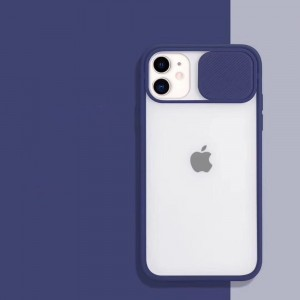Slide Closure Camera Blurry Fancy Protective Case Cover For iPhone - Navy Color