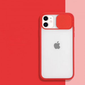 Slide Closure Camera Blurry Fancy Protective Case Cover For iPhone - Red