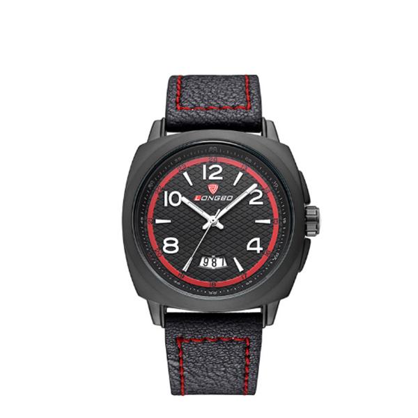 Modern Analog Date Watch Leather Strap Men Sports Watch Black