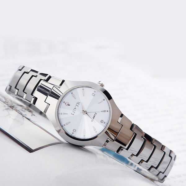 Steel Strap Elegant Couple Analogue Watch - White
