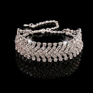 Designers Crystal Silver Plated Wedding Bracelet